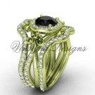 14kt yellow gold diamond, Fleur de Lis engagement ring , Black Diamond engagement set VD20889S