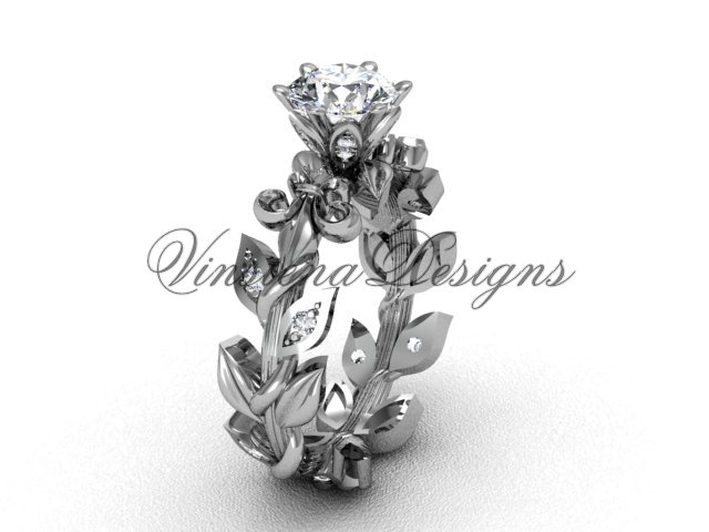 14k white gold diamond leaf and vine, Fleur de Lis engagement ring VD208124