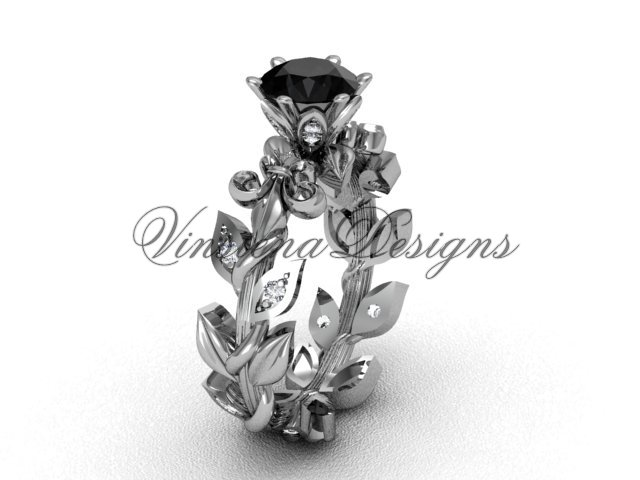 14k white gold diamond leaf and vine, Fleur de Lis, Black Diamond engagement ring VD208124