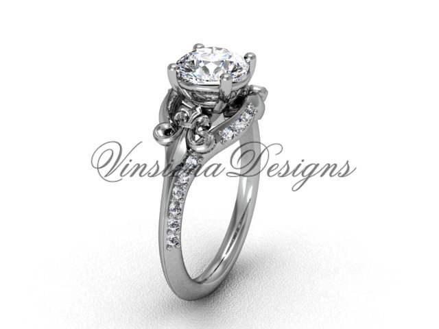 14kt white gold diamond Fleur de Lis, eternity engagement ring VD208125