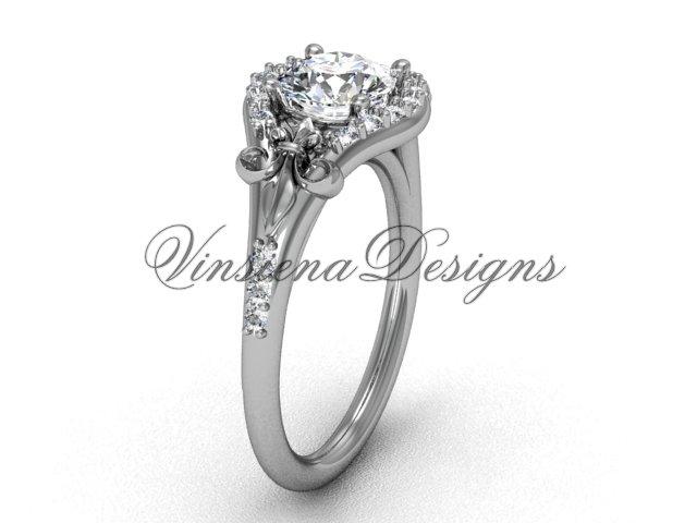 14kt white gold diamond Fleur de Lis, eternity engagement ring VD208126