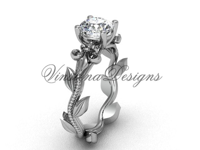 14kt white gold leaf and vine, Fleur de Lis engagement ring VD208223