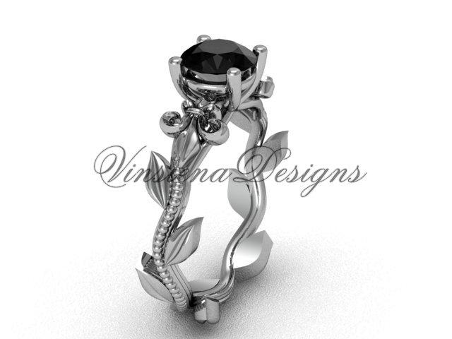 14kt white gold leaf and vine, Fleur de Lis, Black Diamond engagement ring VD208223