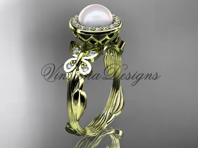 14kt yellow gold, pearl, butterfly, leaf and vine, halo engagement ring VFP301020