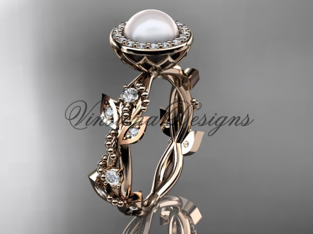 14kt rose gold, pearl, diamond, leaf and vine,halo engagement ring VFP301018