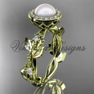 14kt yellow gold, pearl, diamond, leaf and vine,halo engagement ring VFP301018