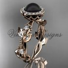 14kt rose gold, pearl, diamond, leaf and vine, halo engagement ring VFBP301018