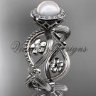 platinum, pearl, flower, halo engagement ring VFP301014