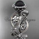 14kt white gold, pearl, flower, halo engagement ring VFBP301014