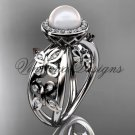 14kt white gold, pearl, diamond, butterfly, halo engagement ring VFP301013