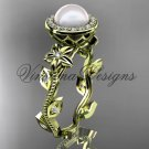 14kt yellow gold pearl, diamond leaf and vine, floral, halo engagement ring VFP301012