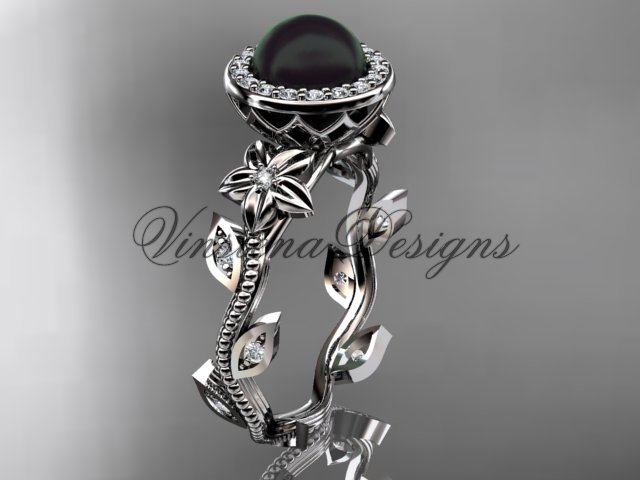 14kt white gold pearl, diamond leaf and vine, floral, halo engagement ring VFBP301012