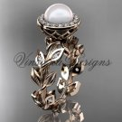 14kt rose gold pearl, diamond leaf and vine halo engagement ring VFP301007