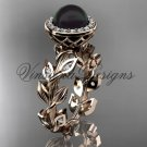 14kt rose gold pearl, diamond leaf and vine halo engagement ring VFBP301007