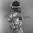 Platinum  pearl, diamond leaf and vine halo engagement ring VFBP301007