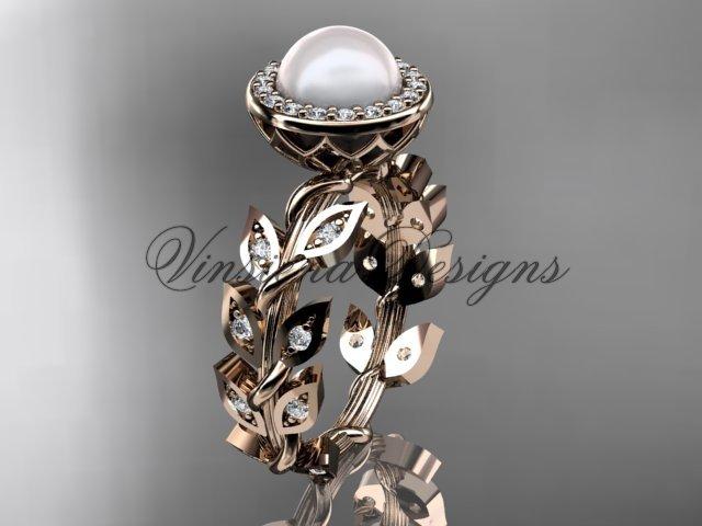 14kt rose gold pearl, diamond leaf and vine engagement ring VFP301006