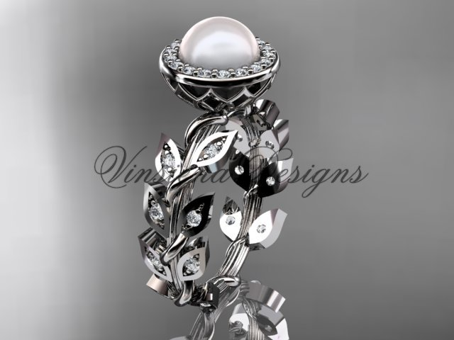 Platinum  pearl, diamond leaf and vine engagement ring VFP301006