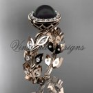 14kt rose gold pearl, diamond leaf and vine engagement ring VFBP301006