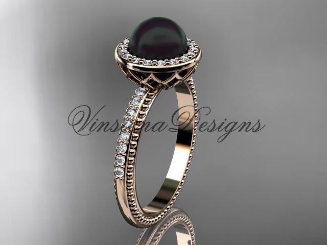 14kt rose  gold pearl, diamond halo, eternity engagement ring VFBP301005