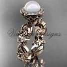 14kt rose gold diamond leaf and vine, flower, pearl, halo wedding ring, engagement ring VFP301001