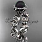 14kt white gold diamond leaf and vine, flower, pearl, halo wedding ring, engagement ring VFBP301001