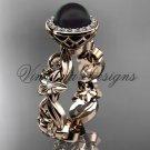 14kt rose gold diamond leaf and vine, flower, pearl, halo wedding ring, engagement ring VFBP301001