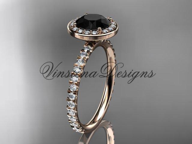 14kt rose gold engagement ring Black Diamond VD10082