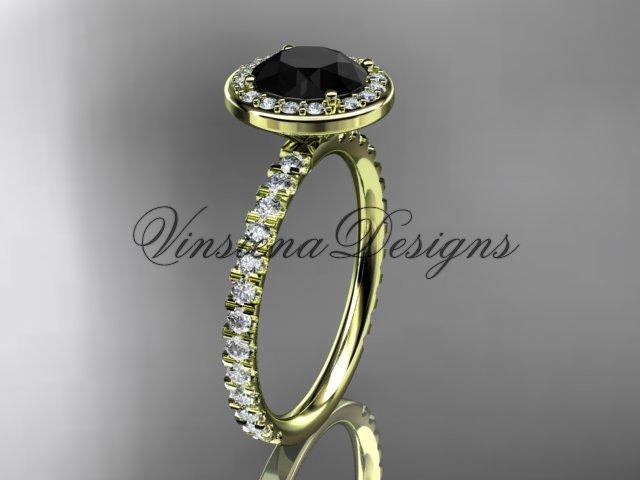 14kt yellow gold engagement ring Black Diamond VD10082