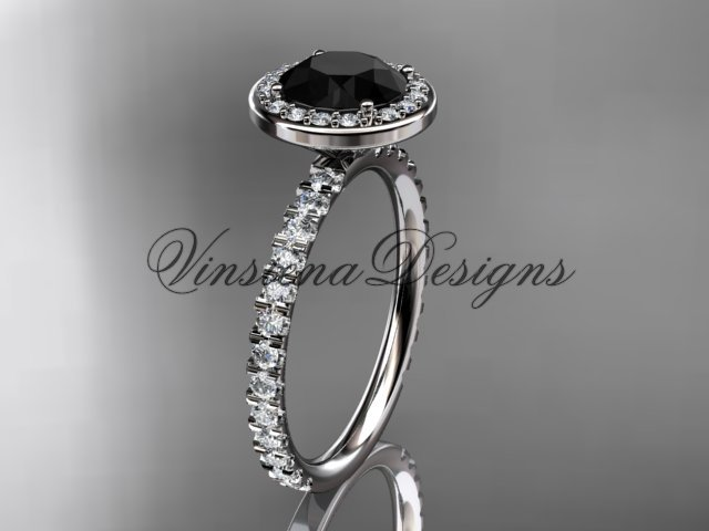 platinum  engagement ring Black Diamond VD10082