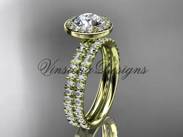 "14k yellow gold engagement ring, wedding band, engagement set, ""Forever One"" Moissanite VD10082S"