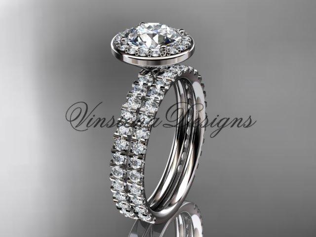 """Platinum  engagement ring, wedding band, engagement set, """"Forever One"""" Moissanite VD10082S"""