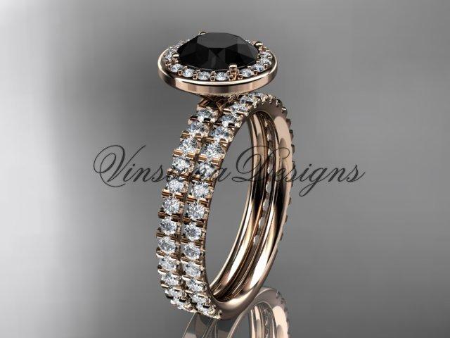 14k rose gold engagement ring, wedding band, engagement set, Black Diamond VD10082S