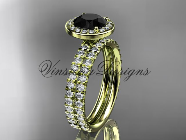14k yellow gold engagement ring, wedding band, engagement set, Black Diamond VD10082S