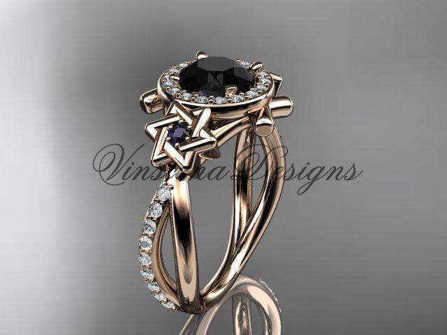 14kt rose gold diamond, Star of David ring, engagement ring, enhanced Black Diamond VH10012