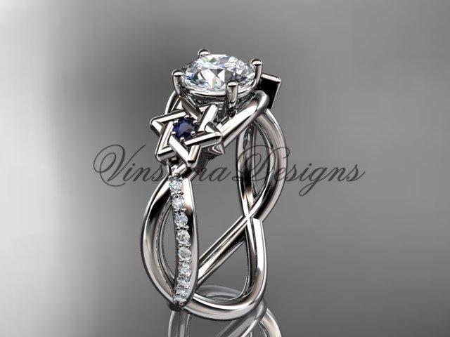 14kt white gold diamond, Star of David ring, Forever One Moissanite, engagement ring VH10013