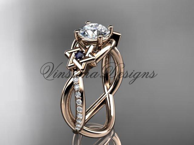 14kt rose gold diamond, Star of David ring, Forever One Moissanite, engagement ring VH10013