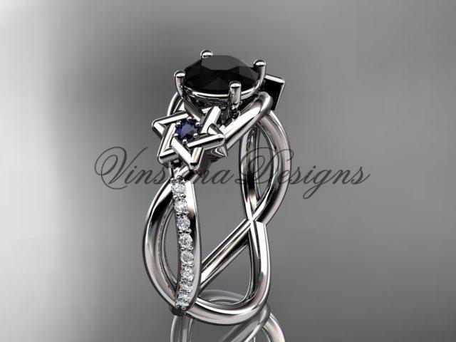 14kt white gold diamond, Star of David ring, enhanced Black Diamond, engagement ring VH10013