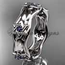 14kt white gold Star of David ring, jewish ring, leaf and vine wedding band VH10014B