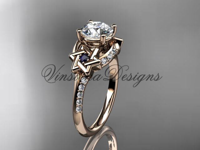14kt rose gold diamond, jewish Star of David ring, Forever One Moissanite engagement ring VH10015
