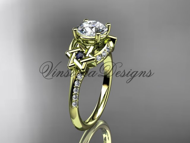 14kt yellow gold diamond, jewish Star of David ring, Forever One Moissanite engagement ring VH10015