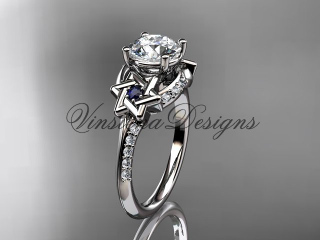 Platinum  diamond, jewish Star of David ring, Forever One Moissanite engagement ring VH10015