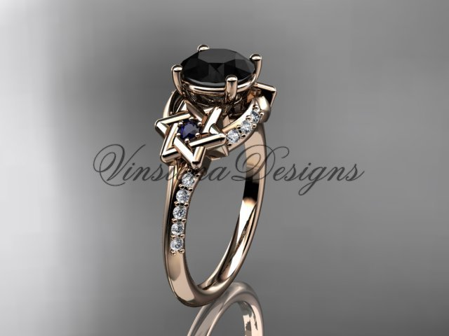 14kt rose gold diamond, jewish Star of David ring, enhanced Black Diamond engagement ring VH10015