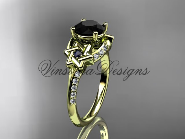 14kt yellow gold diamond, jewish Star of David ring, enhanced Black Diamond engagement ring VH10015