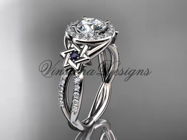 14kt white gold, diamond, Star of David ring,  engagement ring, Forever One Moissanite VH10016