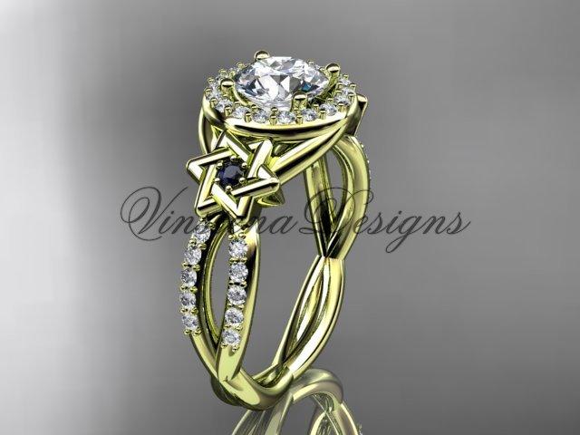 14kt yellow gold, diamond, Star of David ring,  engagement ring, Forever One Moissanite VH10016