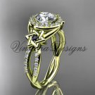 14kt yellow gold, diamond, Star of David ring,  engagement ring, Forever One Moissanite VH10016