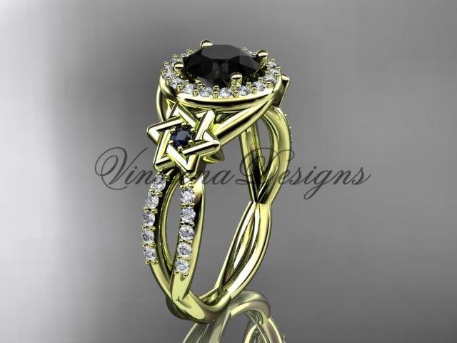 14kt yellow gold, diamond, Star of David ring, engagement ring, enhanced Black Diamond VH10016