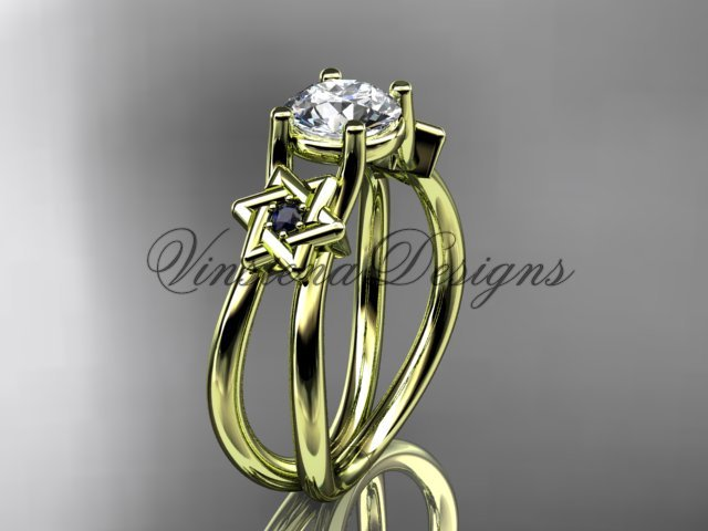 14kt yellow gold, Star of David, jewish ring, engagement ring VH10017