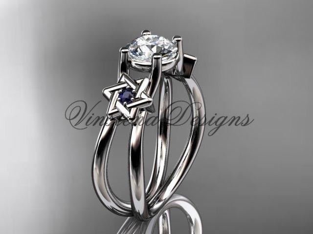 14kt white gold, Star of David, jewish ring, engagement ring, Forever One Moissanite VH10017