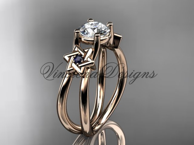 14kt rose gold, Star of David, jewish ring, engagement ring, Forever One Moissanite VH10017